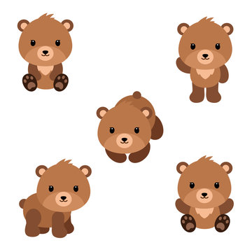 Set of cute cartoon bears in modern simple flat style.