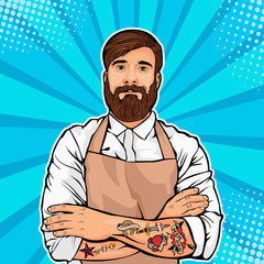 Bearded man with tattoo on arms vector illustration in comic pop art style. Hipster artisan or worker in apron