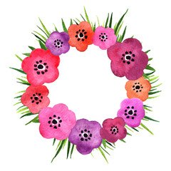 Watercolor floral circle frame. Hand painted pink and purple flowers and greenery