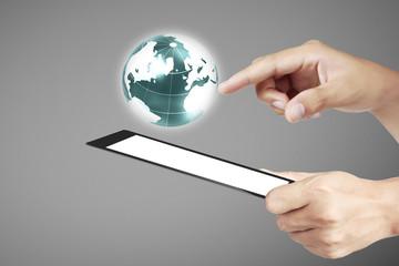 multitasking man using tablet in hand