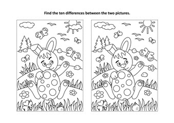 Easter holiday themed find the ten differences picture puzzle and coloring page with bunny and painted egg, rural scene