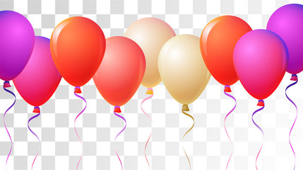 Helium Balloons Realistic Vector Colored Collection. Music Festival, Birthday Party Celebration, Carnival, Poster Decoration. Fun Realistic Helium Balloons Bunch Set Design on a Transparent Background