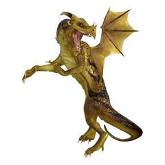 Printed kitchen splashbacks Dragons 3D Rendering Fantasy Dragon on White