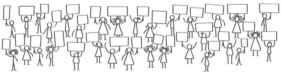 Vector illustration of protesting stick figures, holding up blank boards, horizontal banner, isolated on white background