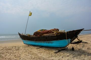 Barca da pesca sulla Spiaggia in Goa