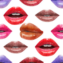 Seamless pattern of colorful sexy lips. Vector lipstick or lip gloss 3d realistic design. Fashion illustration