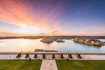 Beautiful sunrise over Three Cities in Malta