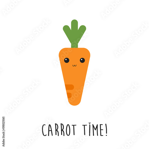 cute carrot cartoon with carrot time text in flat design isolated on