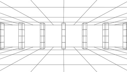 3D outline interior. Vector