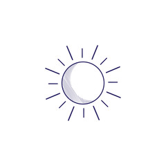 Minimalistic hand-drawn icon with the sun. Hatched web icon