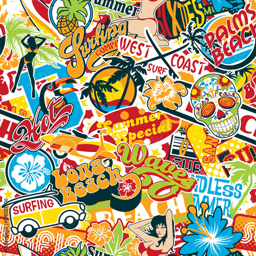 Vintage Summer Surfing Beach Stickers Patchwork Vector Seamless