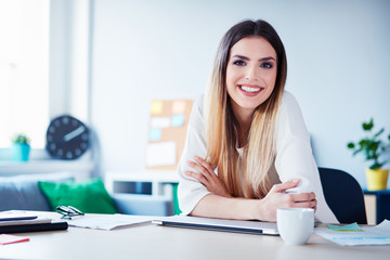 Portrait of beautiful young woman working in home office looking and smiling at camera