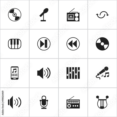 Set Of 16 Editable Sound Icons Includes Symbols Such As Mobile