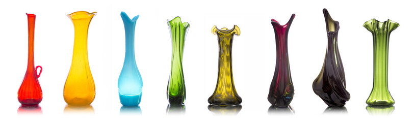 Collection of colorful glass vases isolated on white background Fototapete