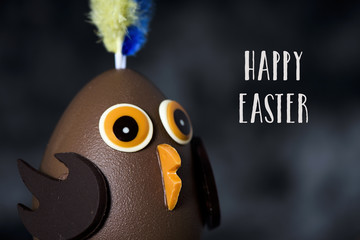 chocolate chick and text happy easter
