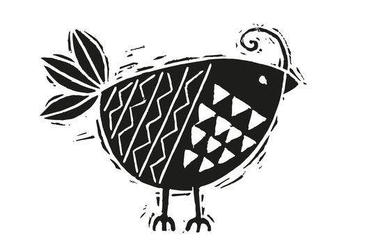 Woodcut bird vector illustration
