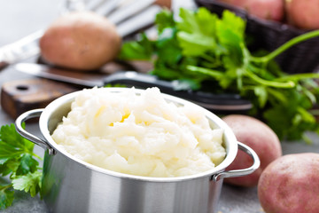 Mashed, mash potato with butter and milk. Potato puree