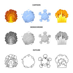 Flame, sparks, hydrogen fragments, atomic or gas explosion. Explosions set collection icons in cartoon,outline,monochrome style vector symbol stock illustration web.