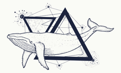 Creative geometric whale tattoo art t-shirt print design poster textile. Whale tattoo geometric style. Mystical symbol of adventure, dreams. Travel, adventure, outdoors symbol whale marine tattoo