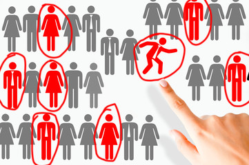 Employee restructuring process with human shapes illustrated on white background