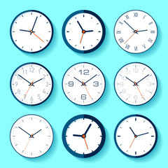 Set of different clock icons in flat style, minimalistic timers on blue background. Business watchs. Vector design elements for you projects