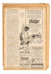 Used paper page english text advertising pictures Vintage newspaper