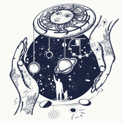 Father teaches the son to space riddles tattoo. Human and Universe tattoo art. Symbol solar system, science, religion, astrology, astronomy. Boundless Universe, planets and stars t-shirt design