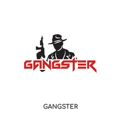 gangster logo isolated on white background for your web, mobile and app design