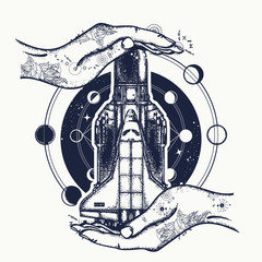 Space shuttle taking off on mission t-shirt design. Space ship and universe tattoo art. Symbol of space research, the flight to new galaxies