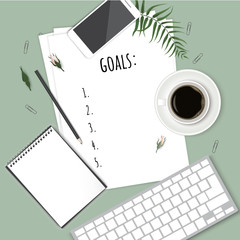 Top view 2018 goals list with notebook, cup of coffee on wooden desk. Vector illustration