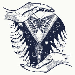 Surreal Universe, planet and star t-shirt design. Universe and butterfly tattoo art. Symbol of esoterics, mysticism, astrology, dream
