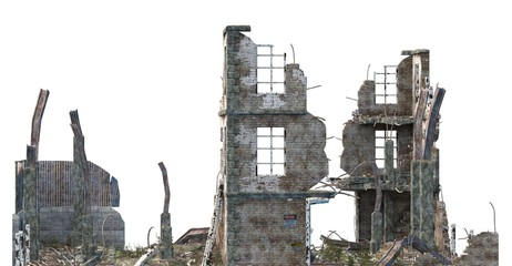 Ruined Building Isolated On White 3D Illustration Wall mural