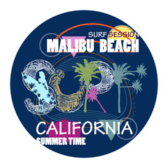 Surfing California Malibu beach fashion typography for t-shirt print. Surf t shirt art