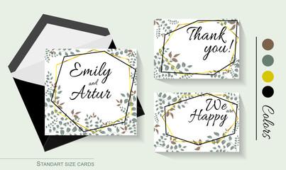 wedding invitation card greenery and gold geometry