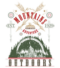 Mountains, symbol travel, tourism, extreme sports and rock climbing, mountains tribal style. Outdoors poster. Mountains tattoo art, t-shirt design