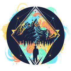 Tourist in the mountains t-shirt design. Mountain triangular style tattoo art. Symbol of climbing, camping, great outdoors, tourism, adventure, meditation. Mountain triangular style tattoo art