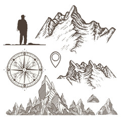 Outdoor, tourism, camping, rock-climbing hand drawn retro style set. Mountains collection, compass, map pointer,tourist. Symbols of mountaineering, adventures, camping