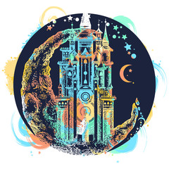 Medieval castle t-shirt design. Medieval castle on the moon tattoo vector. Symbol of the fairy tale, dream, magic