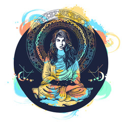 Woman meditation tattoo art. Symbol meditation, philosophy, astrology, magic, yoga. Meditating woman and crystal sphere t-shirt design. Girl in lotus pose