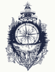 Lighthouse and compass,mountains tattoo and t-shirt design. Mountain antique compass and sea wave. Adventure, travel, outdoors, symbol. Tattoo for travelers, climbers, hikers t-shirt design