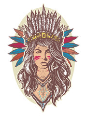 Native American woman color tattoo art and t-shirt design. Young woman in costume of american indian poster. Ethnic girl warrior