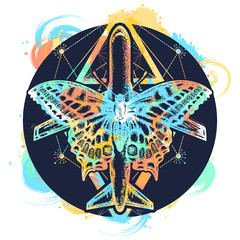 Butterfly and plane tattoo, symbol of tourism, travel, dream, holidays, freedom, flight, adventures, motivations, life style. Beautiful butterfly and taking-off plane t-shirt design