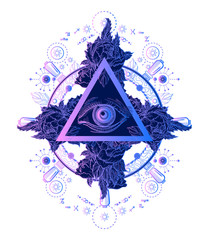 All seeing eye pyramid tattoo art. Alchemy, medieval religion, occultism, spirituality and esoteric tattoo. Magic eye t-shirt design. Roses and the ship's helm. Freemason and spiritual symbols