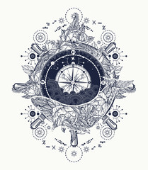 Magic whale, compass and steering wheel tattoo and t-shirt design. Antique compass and floral whale tattoo art. Mystical symbol of adventure, dreams. Compass and Whale. Travel, adventure, outdoors