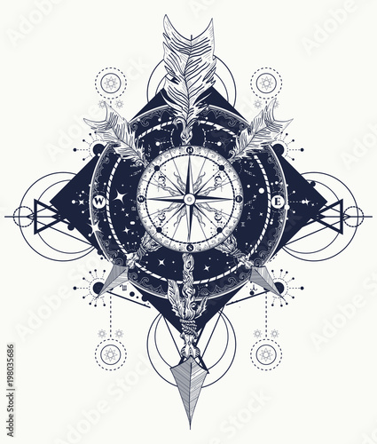 a8f9525ee Rose compass t-shirt design. Tattoo for travelers, climbers, hikers. Compass  and crossed arrows tattoo art. Symbol of tourism, adventure, travel