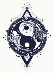 Yin and Yang tattoo art vector, two japanese carp, meditation symbol, philosophy, harmony. Yin and Yang t-shirt design
