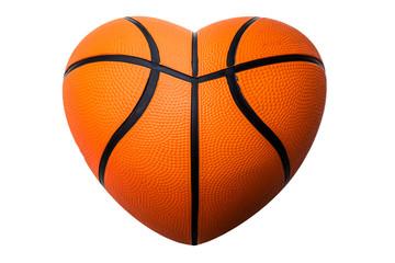 Heart shape basketball on white background