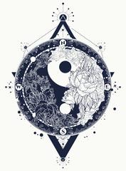 Yin and Yang tattoo art vector. Yin Yang meditative tattoo art. Black and white roses, boho style, meditation symbol, philosophy, harmony tattoo, floral