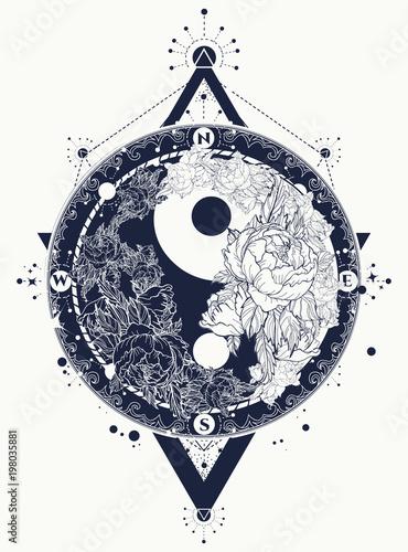 Yin And Yang Tattoo Art Vector Yin Yang Meditative Tattoo