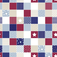Geometric patchwork background with colored star, american flag background, circle and line, vector illustration, decorative textures, seamless pattern, retro style.